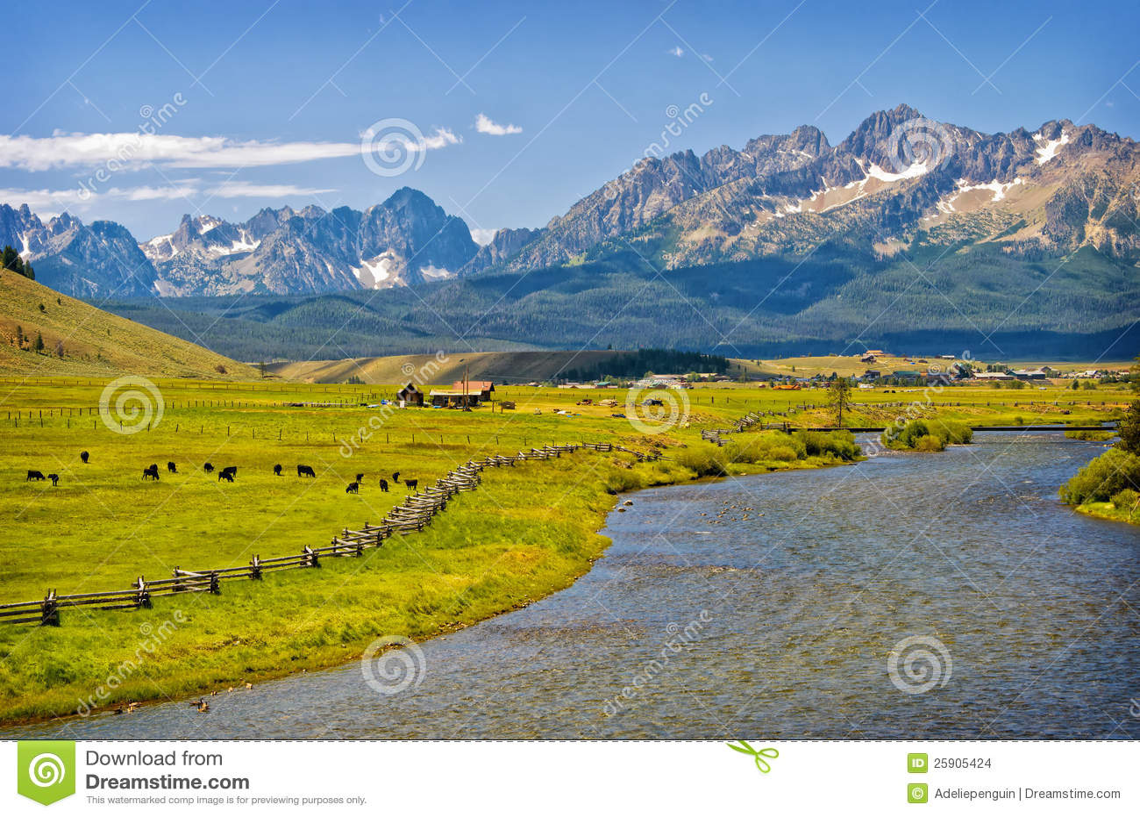 河、大农场和山,爱达荷