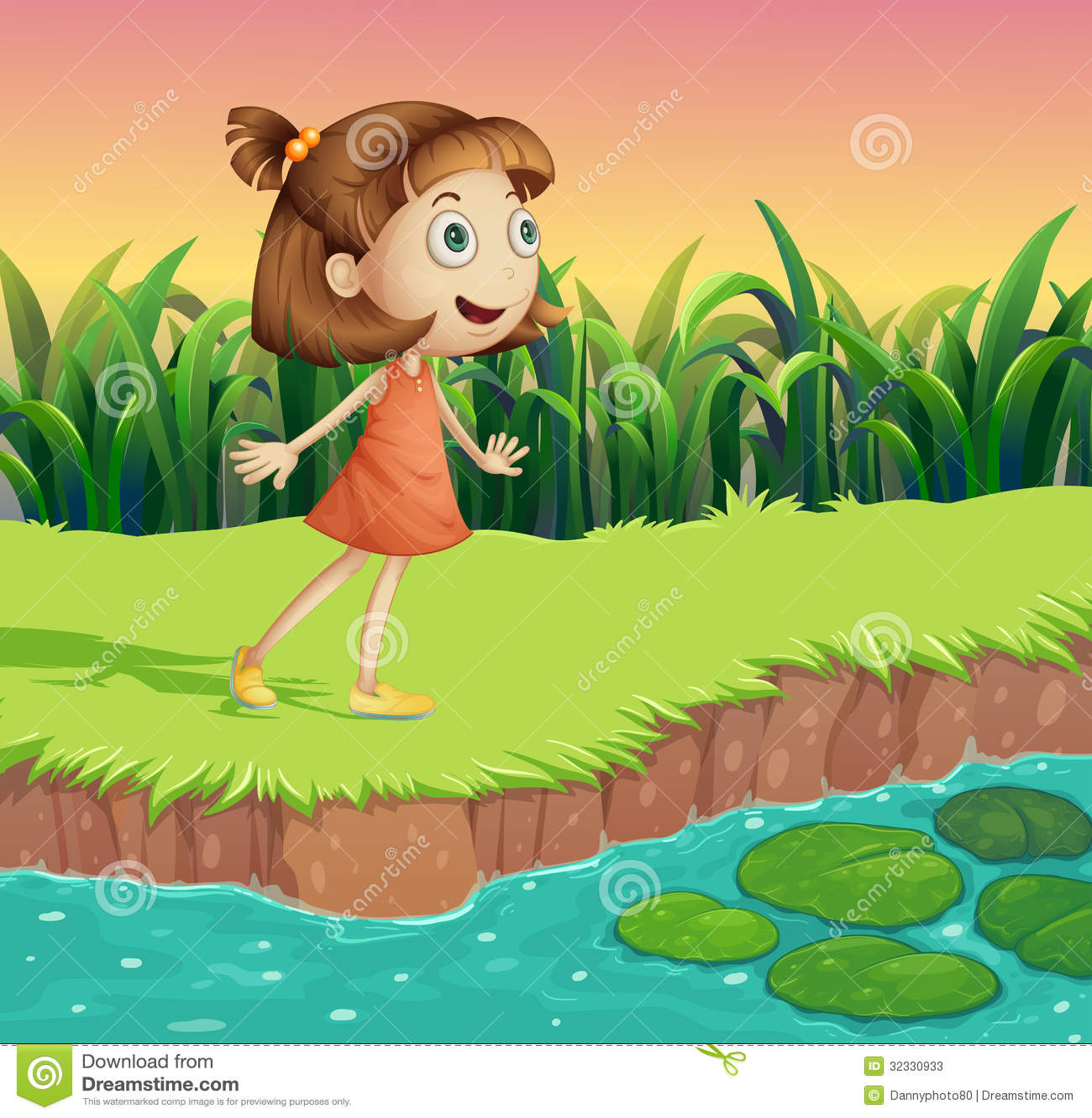 一个小女孩的例证河岸的.图片