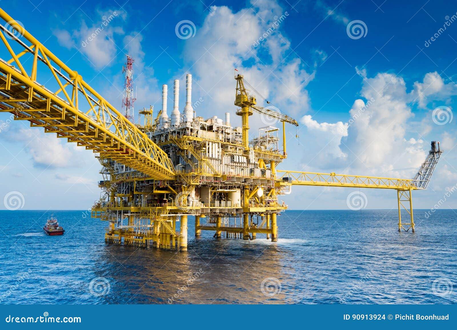 油和煤气生产平台、油和煤气生产和探险事务在暹罗湾