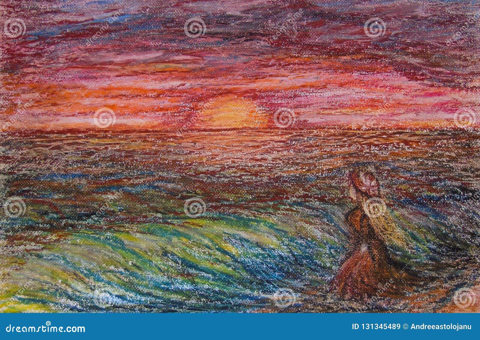 油在白肤金发的妇女帆布的柔和的淡色彩绘画有橙色礼服和橙色帽子的在看天际的海滩在日落期间