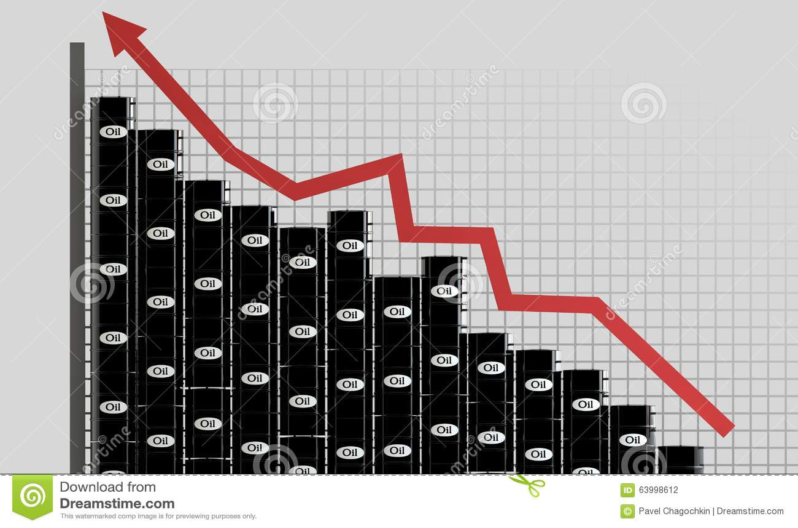 油桶和一张财政图在白色背景 价格油 到达天空的企业概念金黄回归键所有权