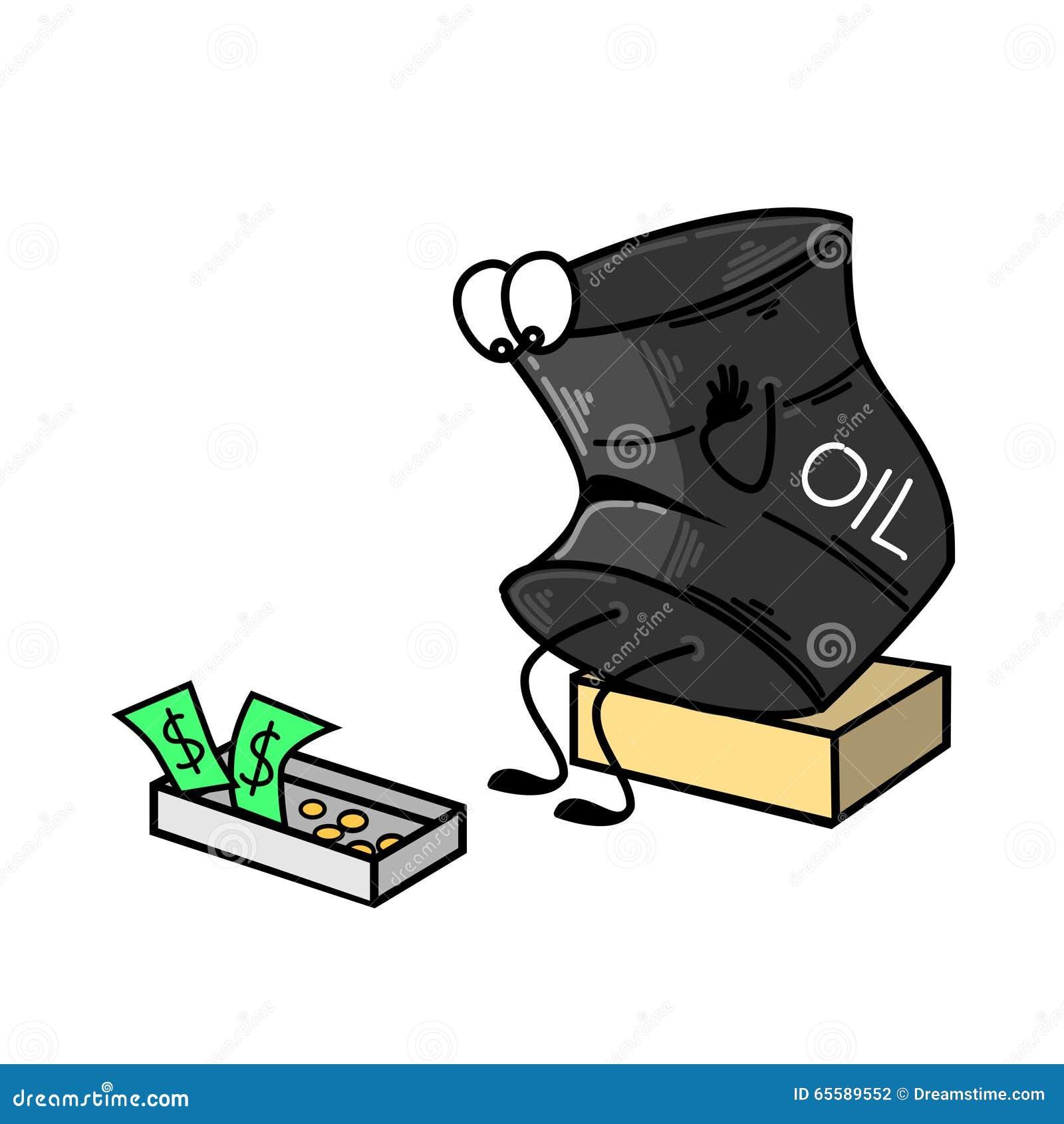 油桶哀伤,在一箱金钱附近 也corel凹道例证向量