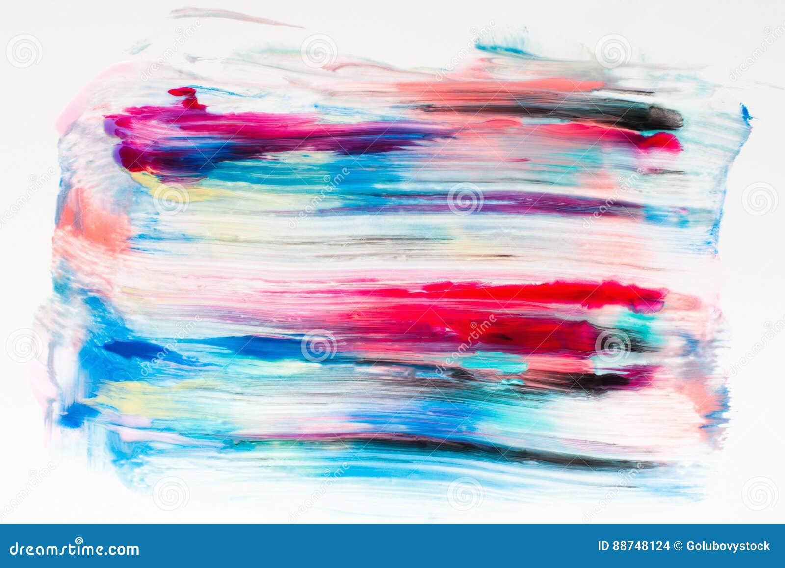 油漆五颜六色的污迹在白色自由空间的