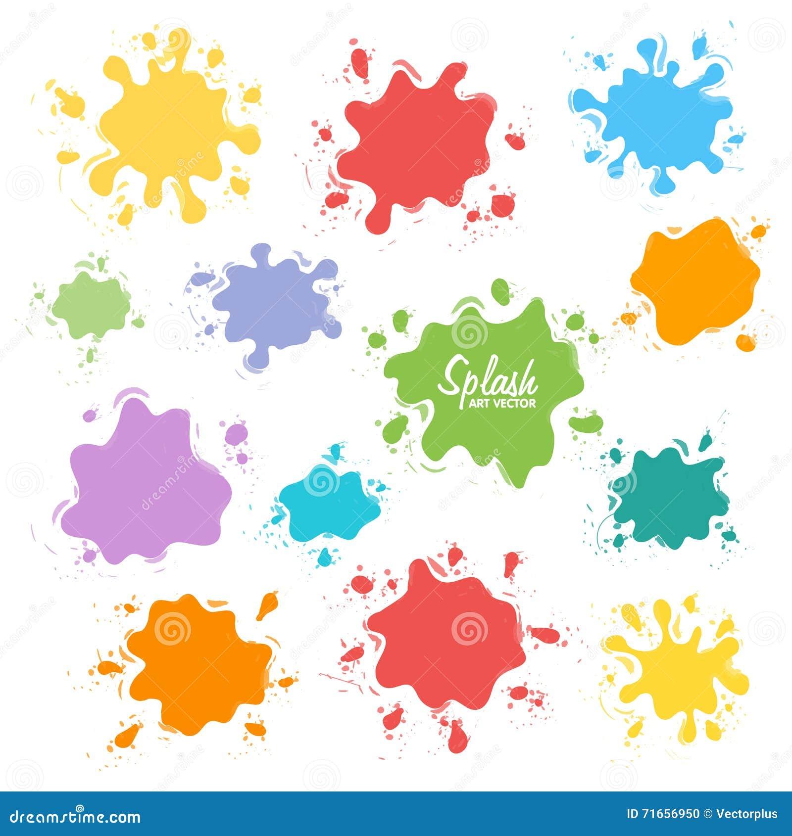 油漆飞溅的汇集 传染媒介套刷子冲程 背景查出的白色