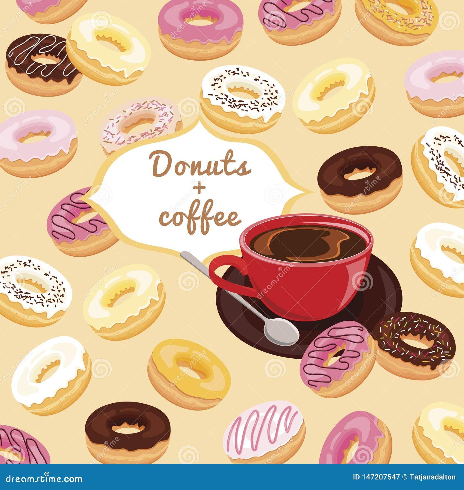 油炸圈饼和咖啡印刷品菜单的