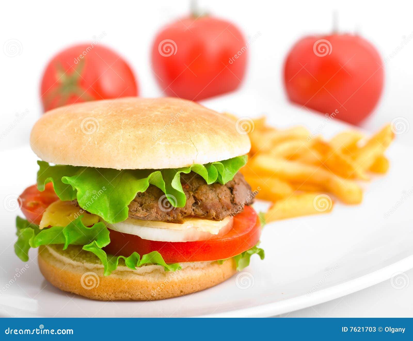 油煎汉堡包牌照白色
