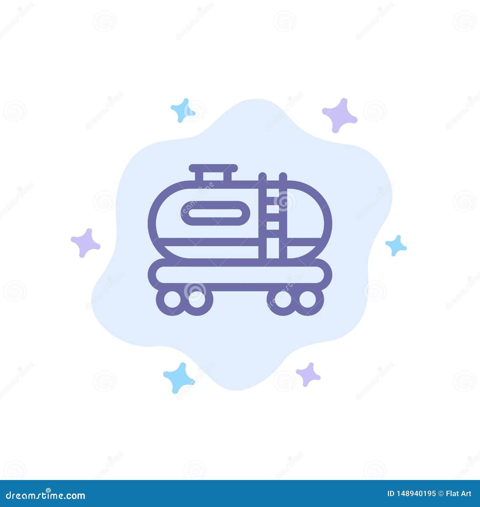 油,坦克,在抽象云彩背景的污染蓝色象