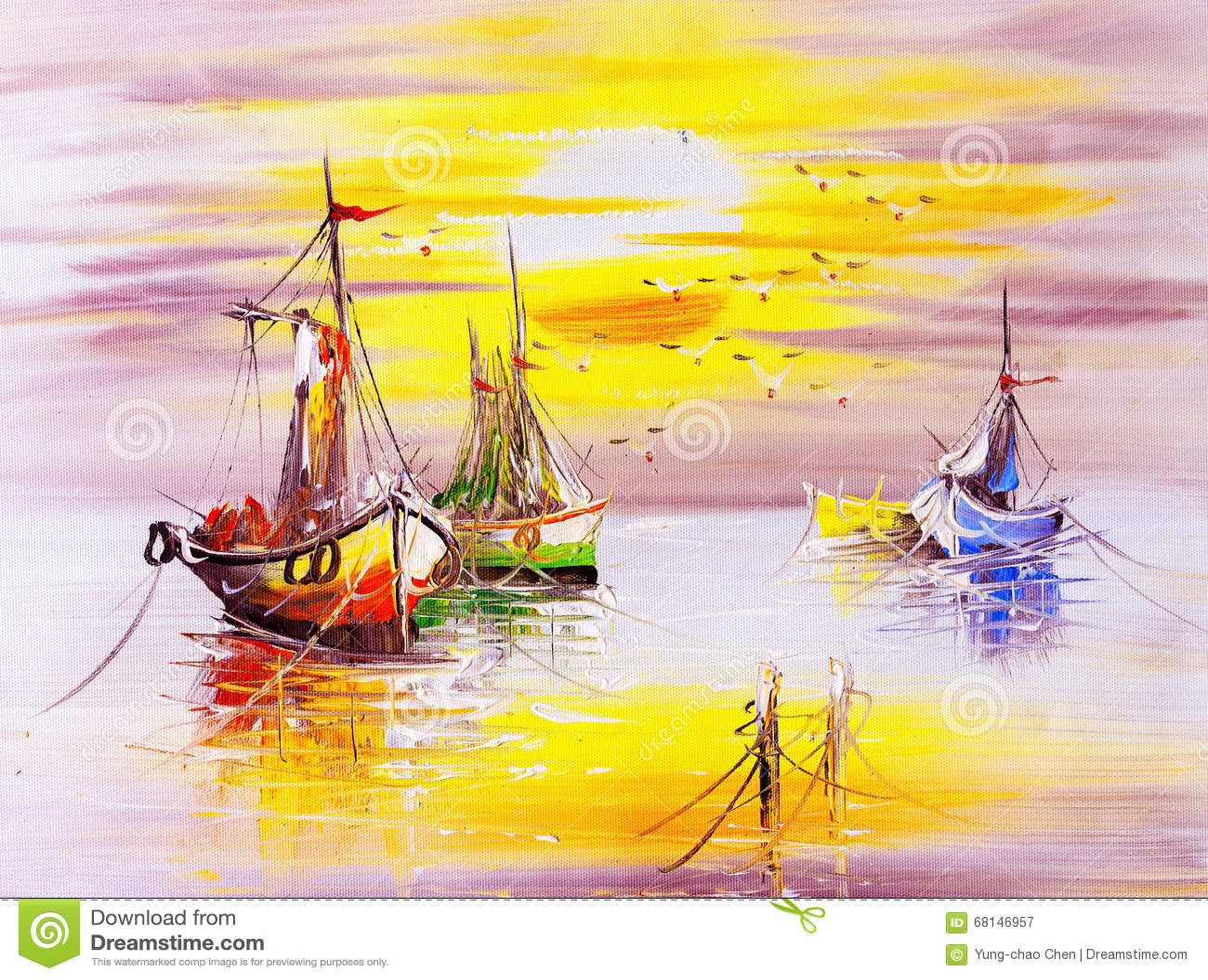油画-小船