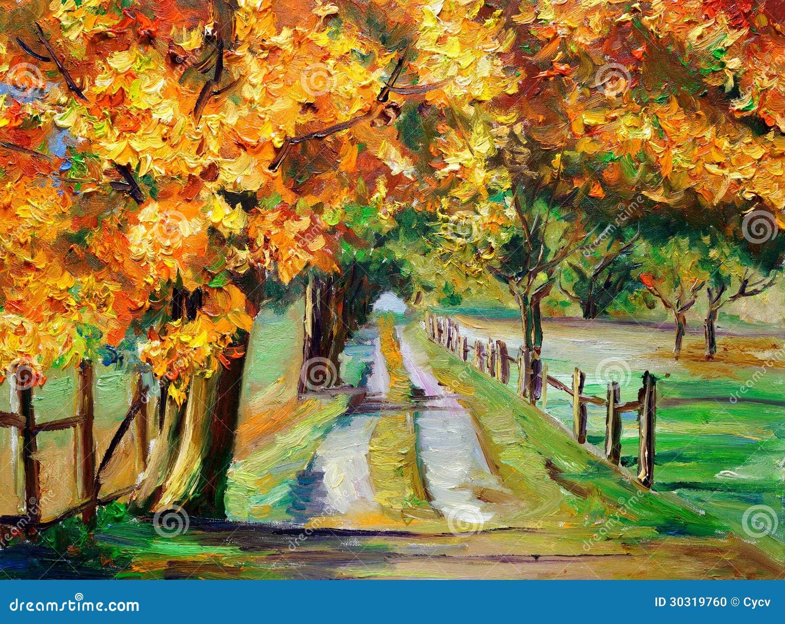 OilOil绘画-有槭树的乡下公路