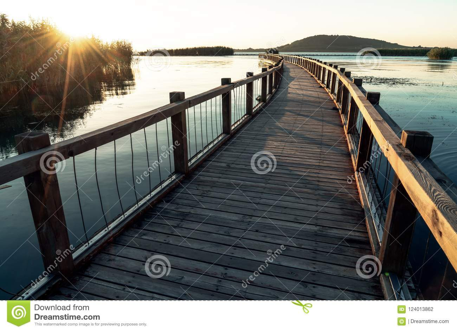 沿湖的木支架