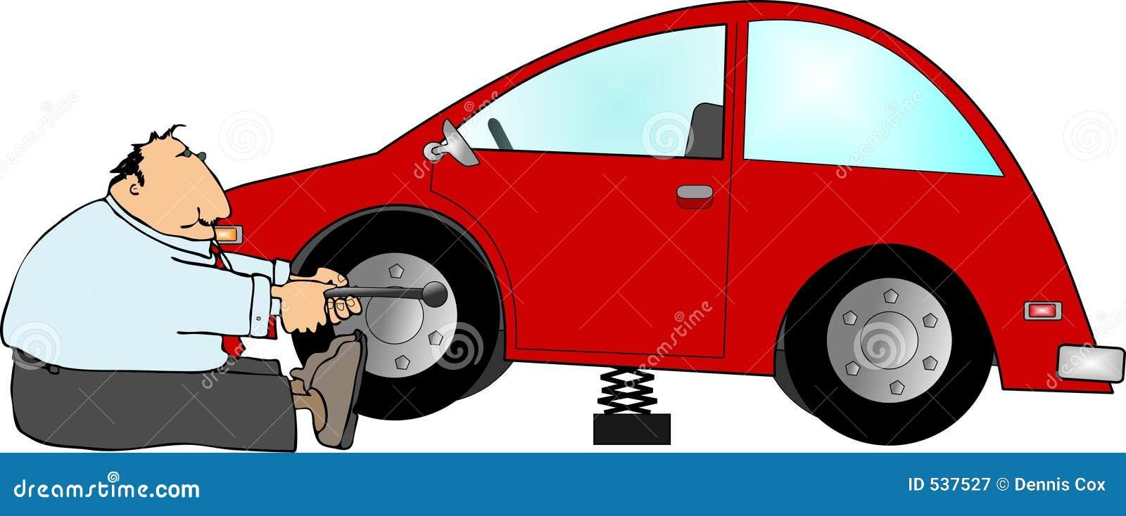 Download 泄了气的轮胎 库存例证. 插画 包括有 例证, 自动, 轮胎, automatics, 幽默, 乐趣, 把手 - 537527