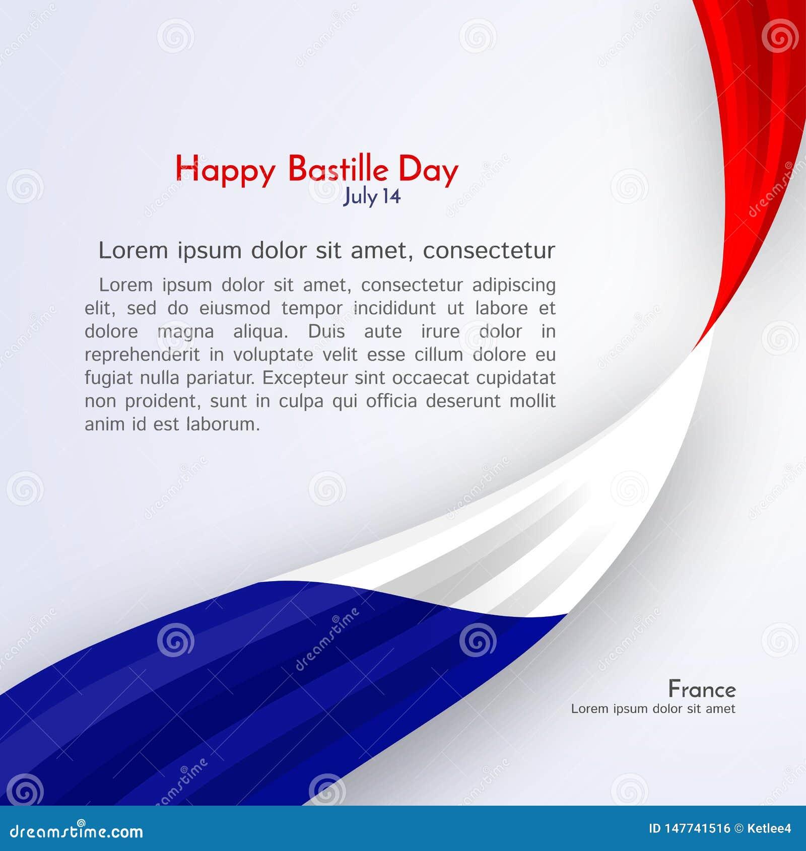 法国和文本在一种轻的背景小册子横幅布局的愉快的巴士底日丝带旗子与法国旗子波浪线
