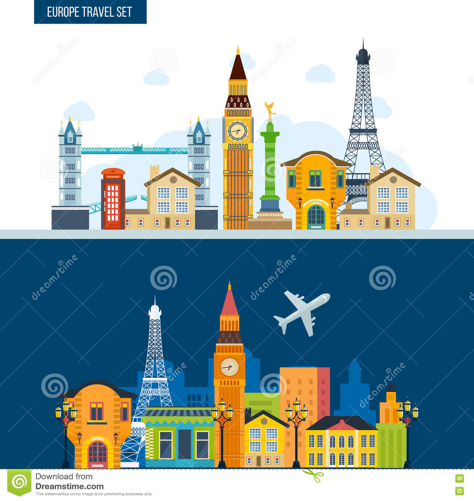法国地标 旅行向欧洲 伦敦和巴黎市
