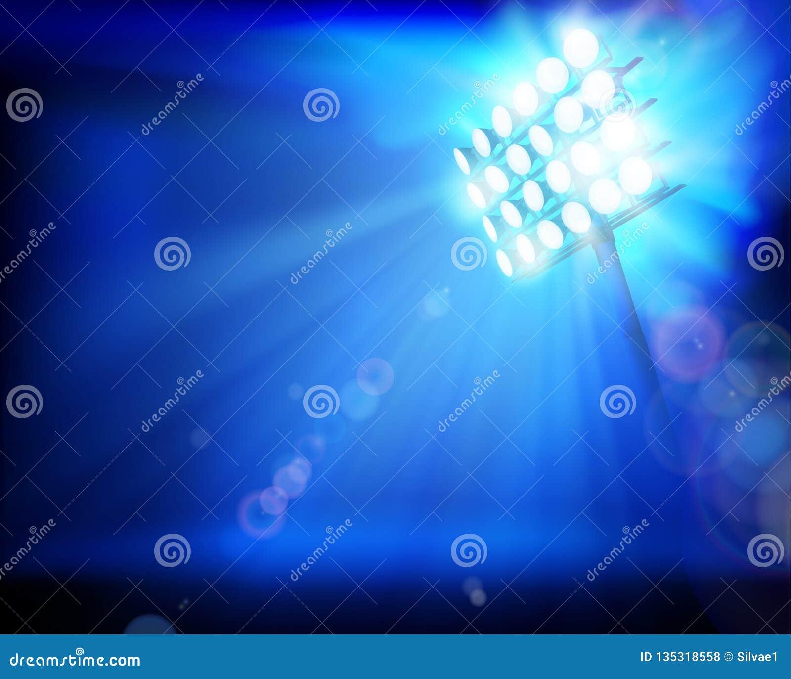 泛光灯照亮的体育场 抽象向量例证
