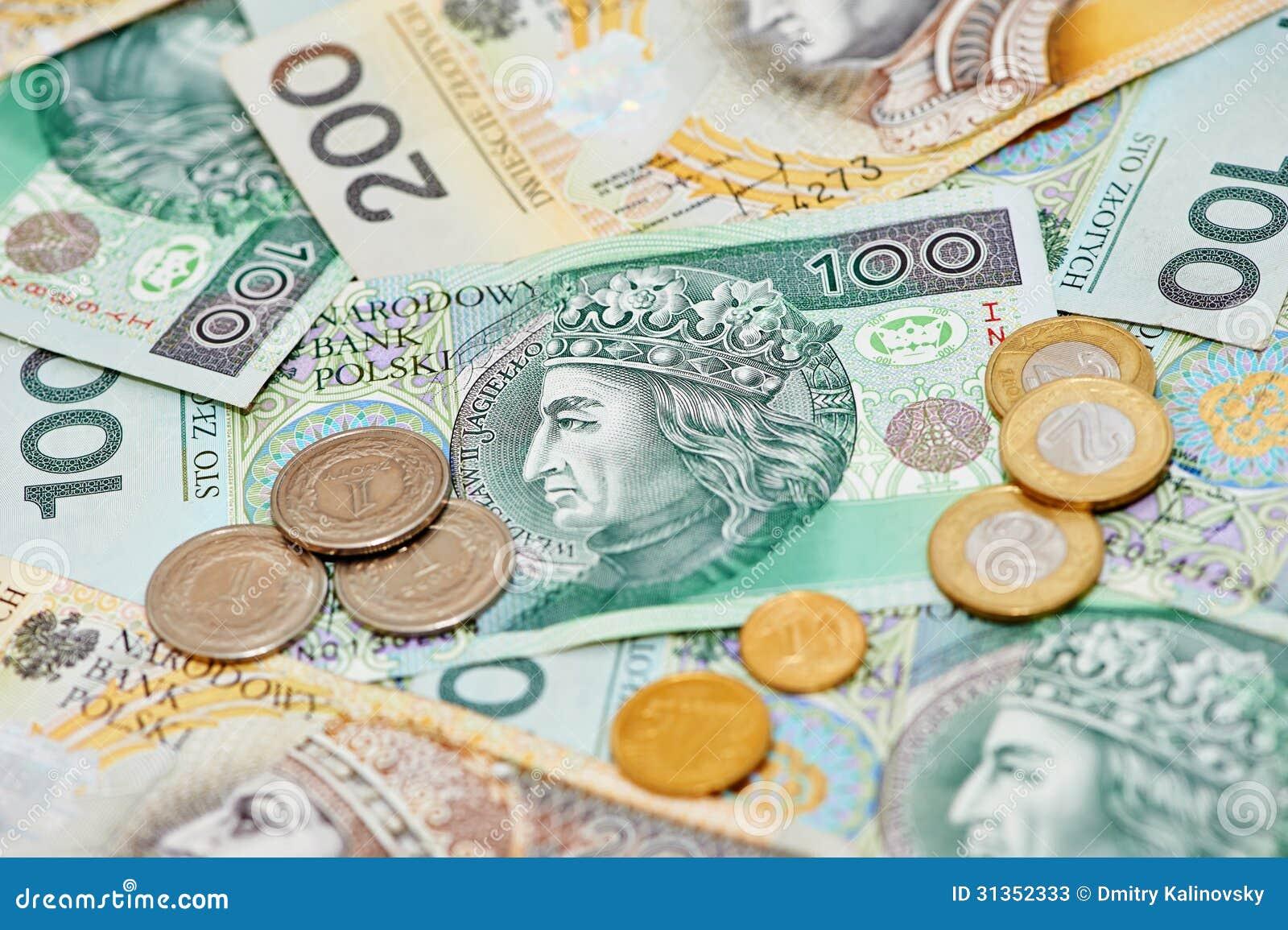 波兰币_波兰货币金钱擦亮剂兹罗提钞票和硬币.特写镜头.