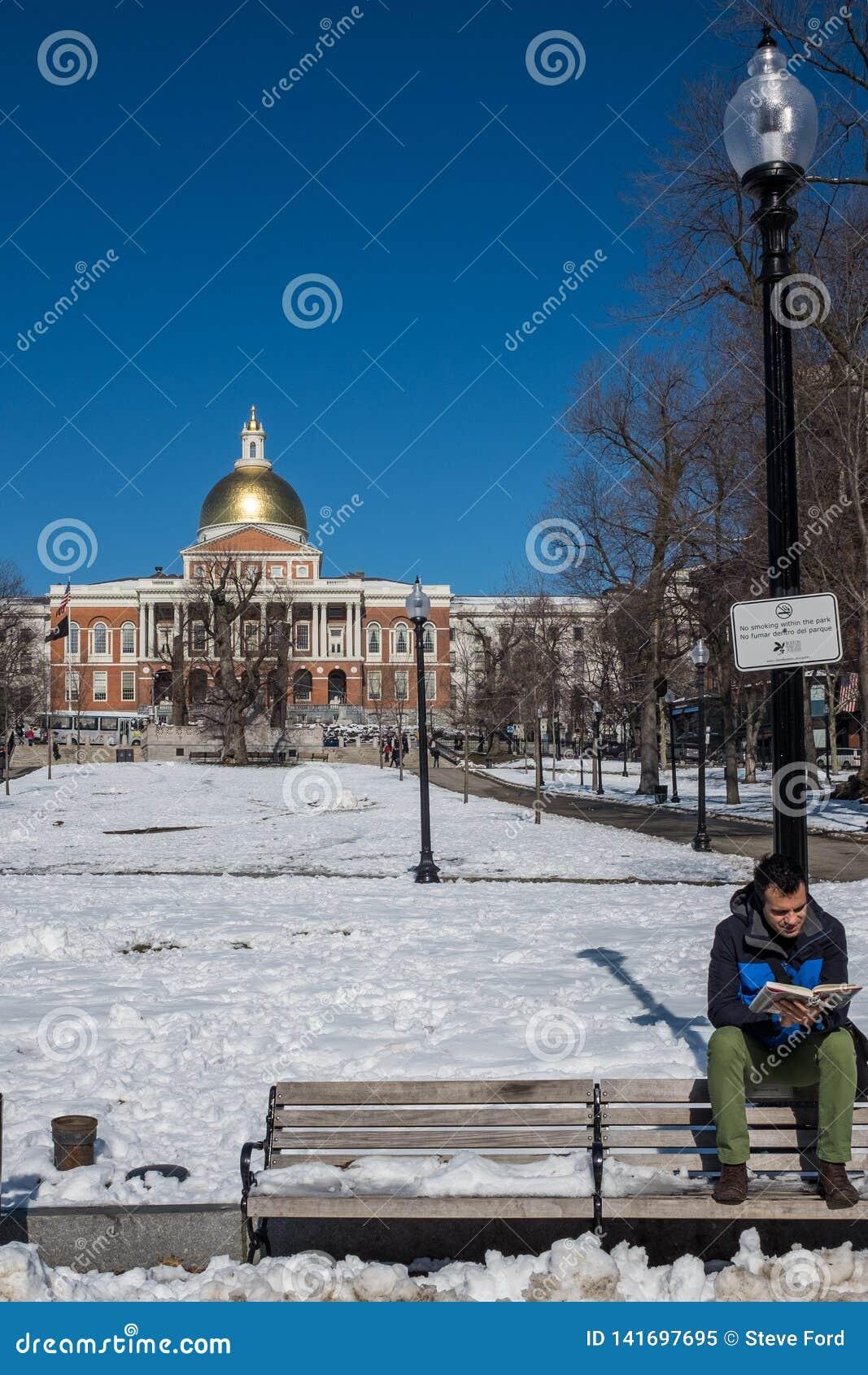 波士顿,麻省,美国,2016年2月,8日:栖息在室外长凳背面读书的年轻人在一个冷颤的积雪的公园
