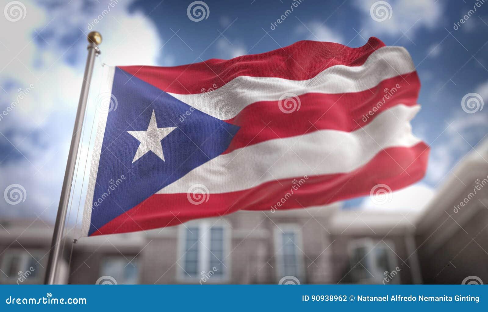 波多黎各在蓝天大厦背景的旗子3D翻译