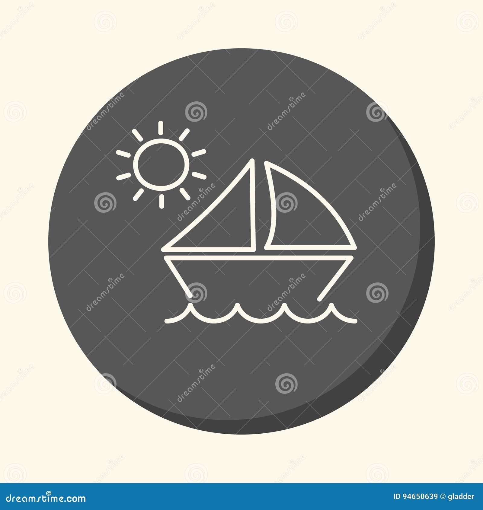 波浪和一条风船在太阳,圆的线性象,简单的颜色变动下