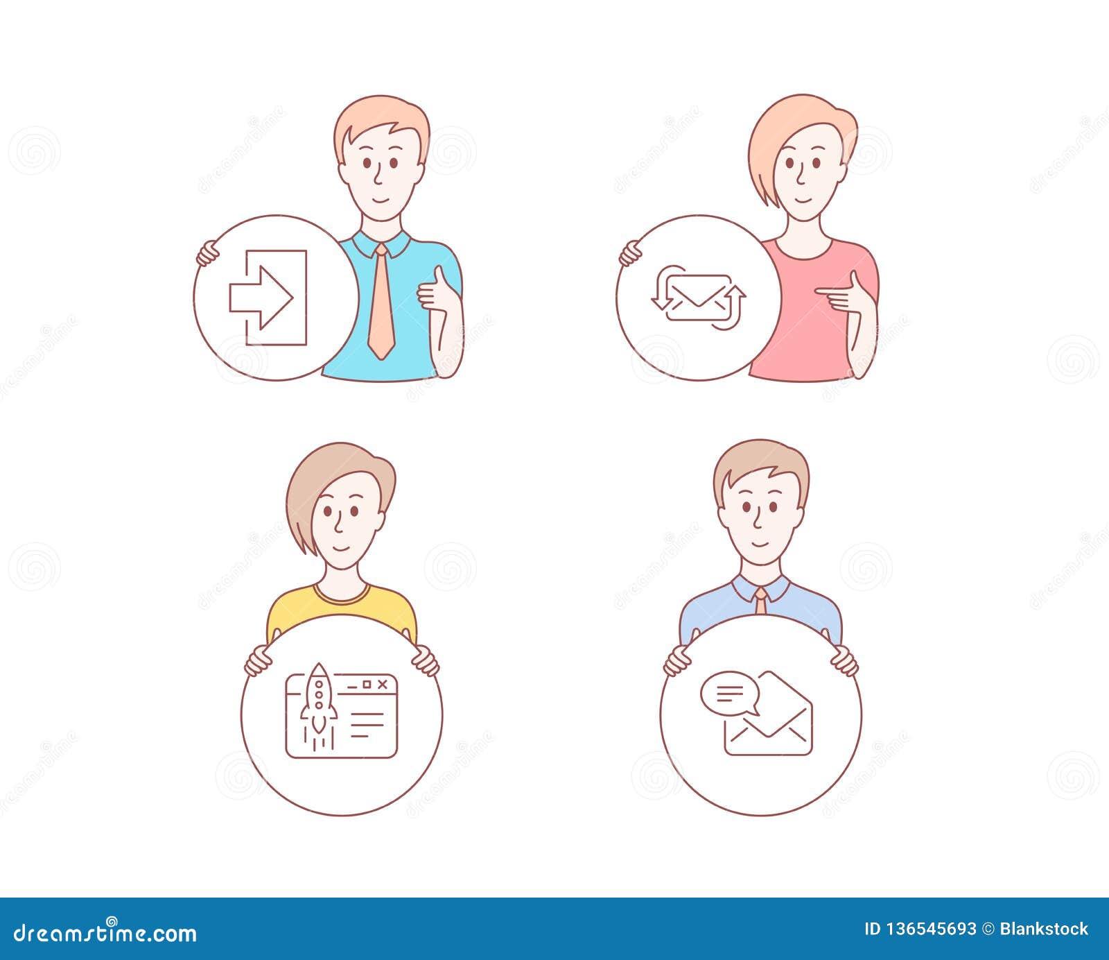 注册,刷新邮件并且开始企业象 新的邮件标志 签到,新的电子邮件,发射想法 收到的电子邮件 向量