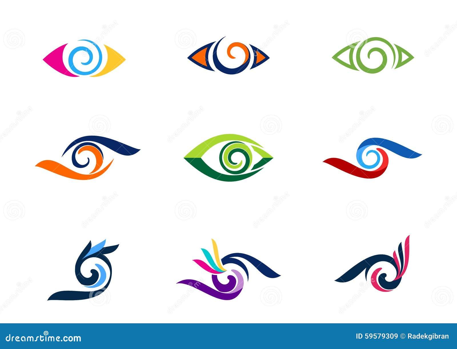 注视视觉商标,时尚,睫毛,汇集漩涡眼睛商标,盘旋视觉例证标志,球形漩涡象传染媒介