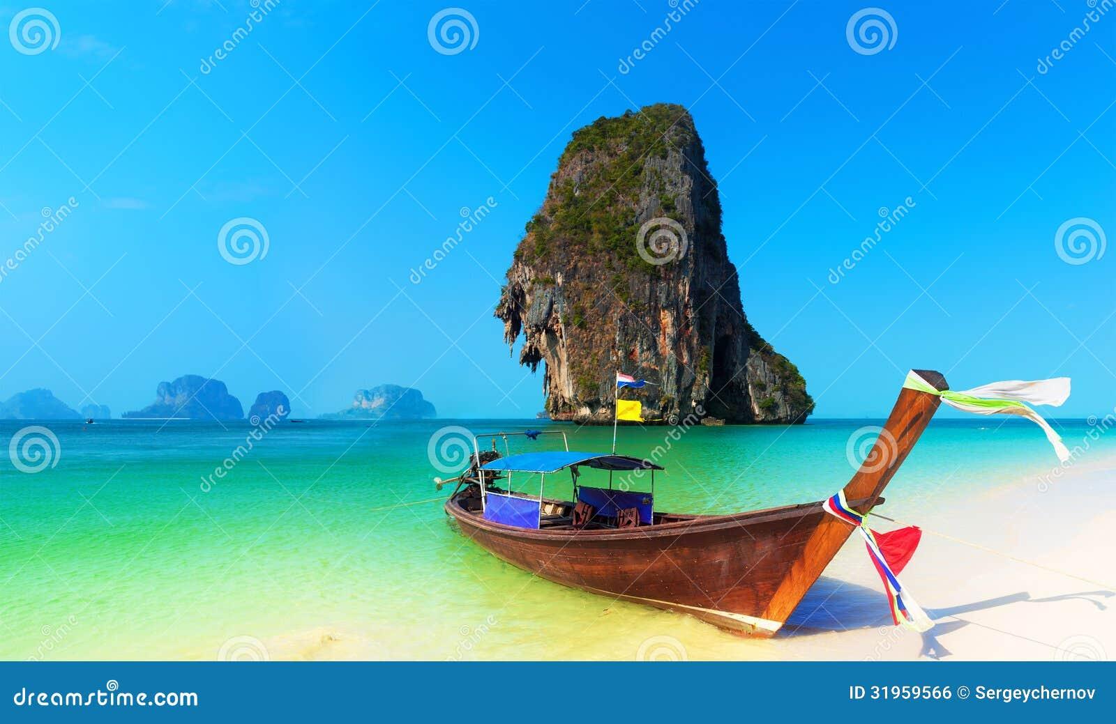 泰国海滩风景热带背景。亚洲海洋自然
