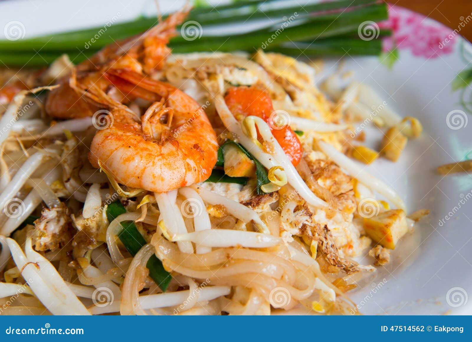 泰国混乱油煎的米线,泰国海鲜的垫