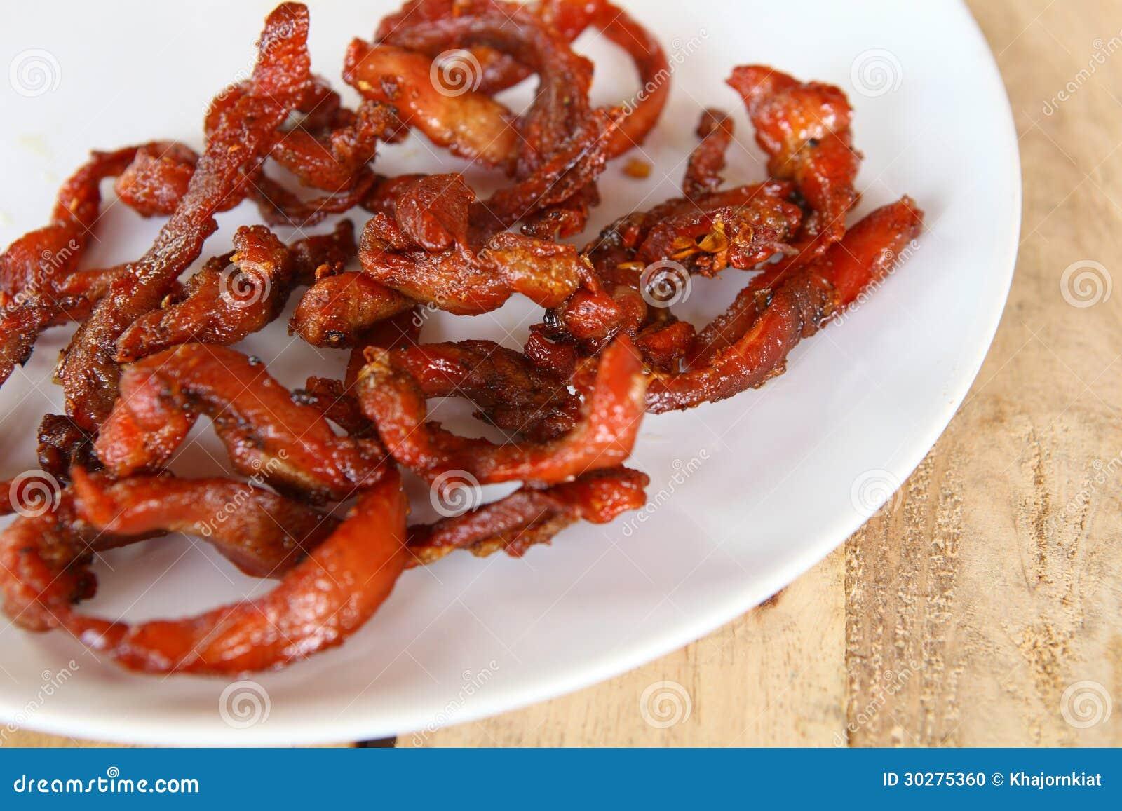 油煎的猪肉。