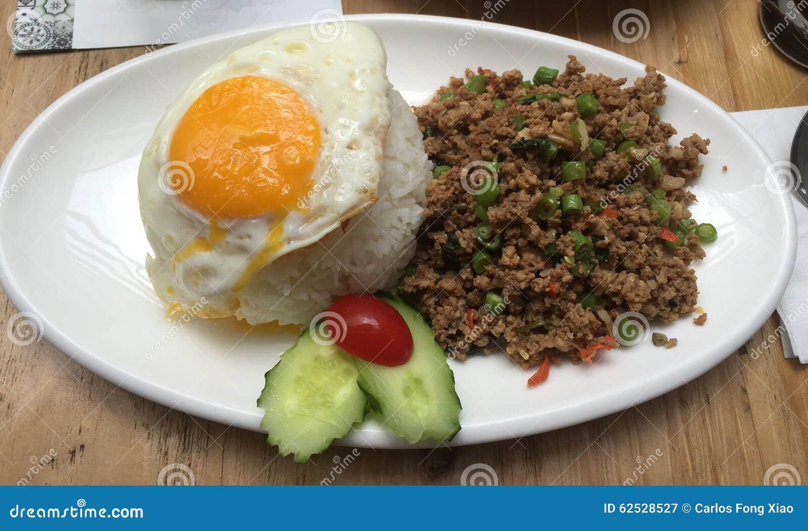 泰国蓬蒿留下剁碎的猪肉食物,!