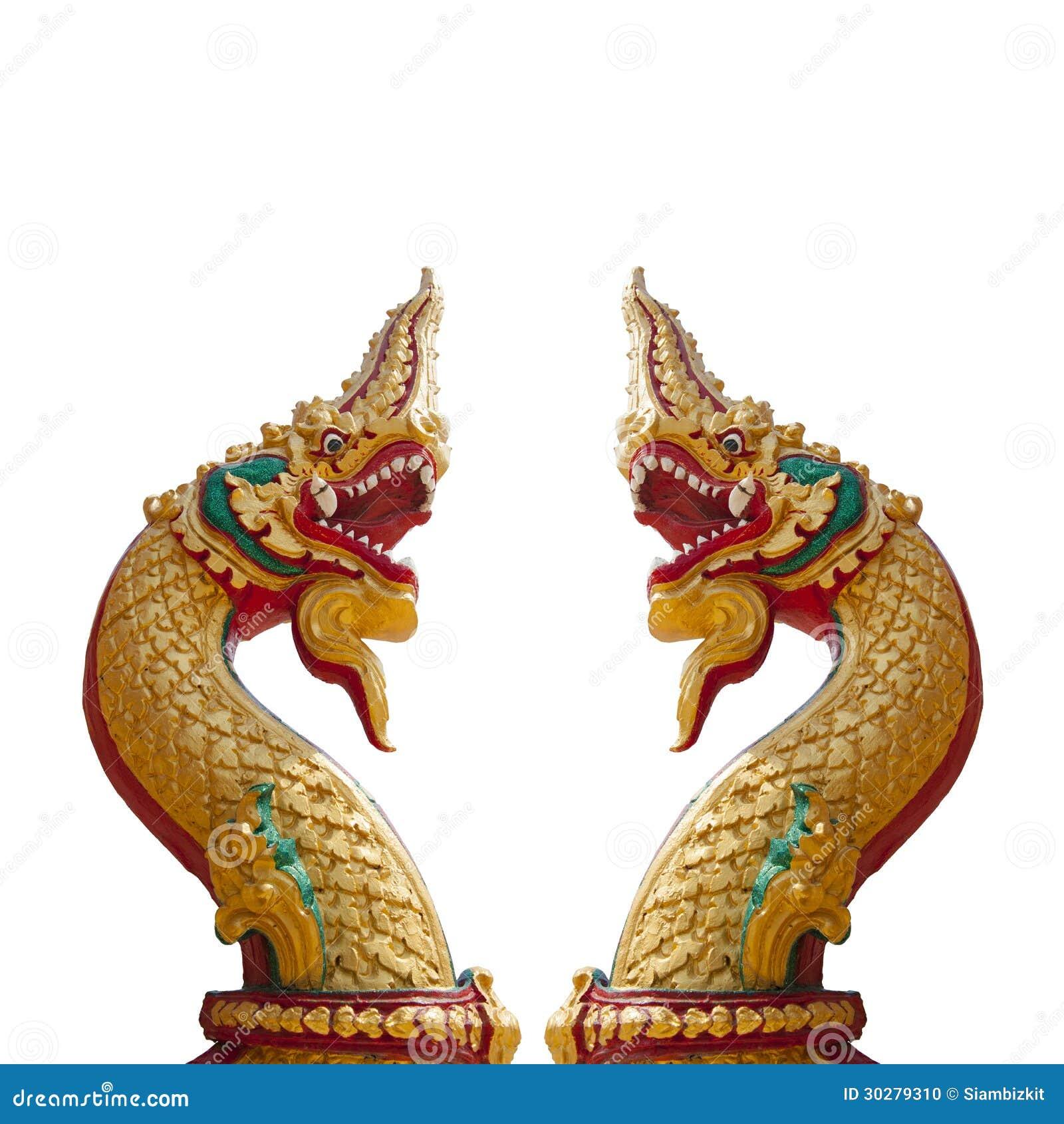 泰国龙,纳卡人雕象的国王在白色背景的