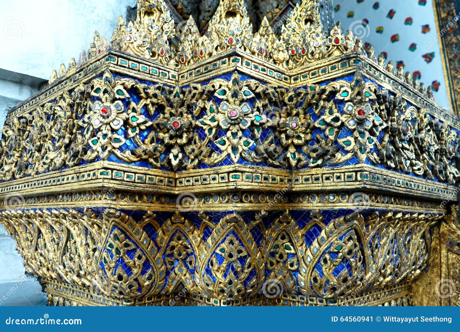 泰国玻璃从五颜六色的玻璃的马赛克墙壁装饰装饰品在Wat Pho寺庙,曼谷泰国