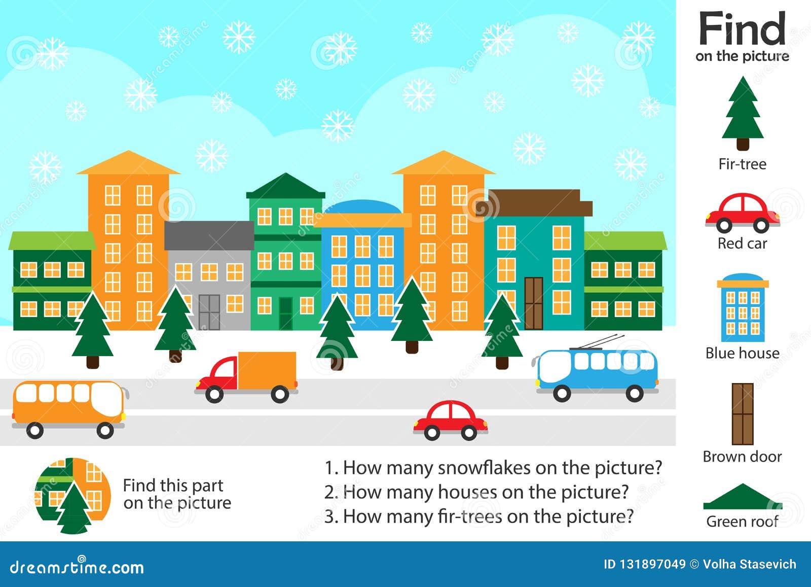 活动页,在动画片样式的圣诞节图片,发现图象和回答问题,发展的视觉教育比赛