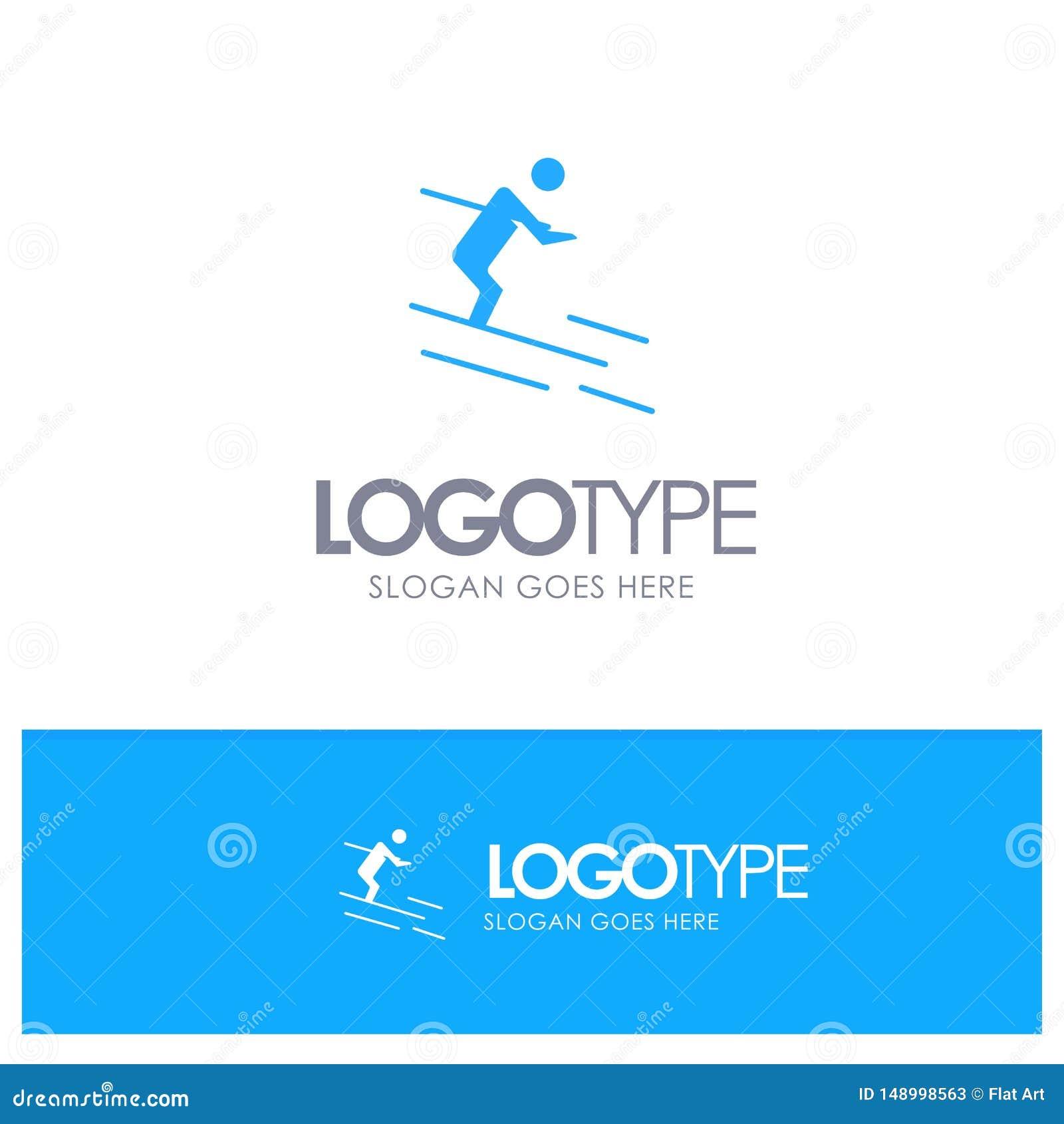 活动,滑雪,滑雪,与地方的运动员蓝色坚实商标口号的