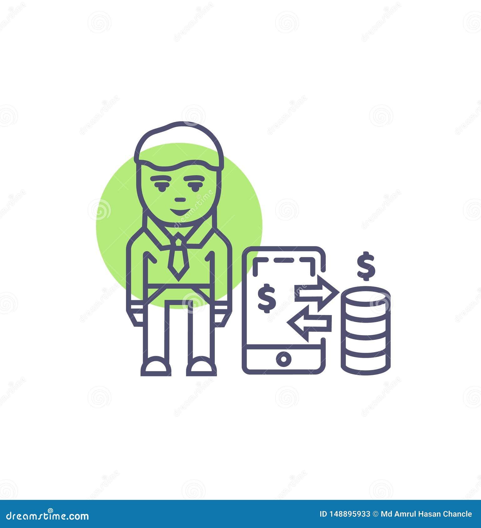 流动付款象技术流动付款传染媒介标志和标志
