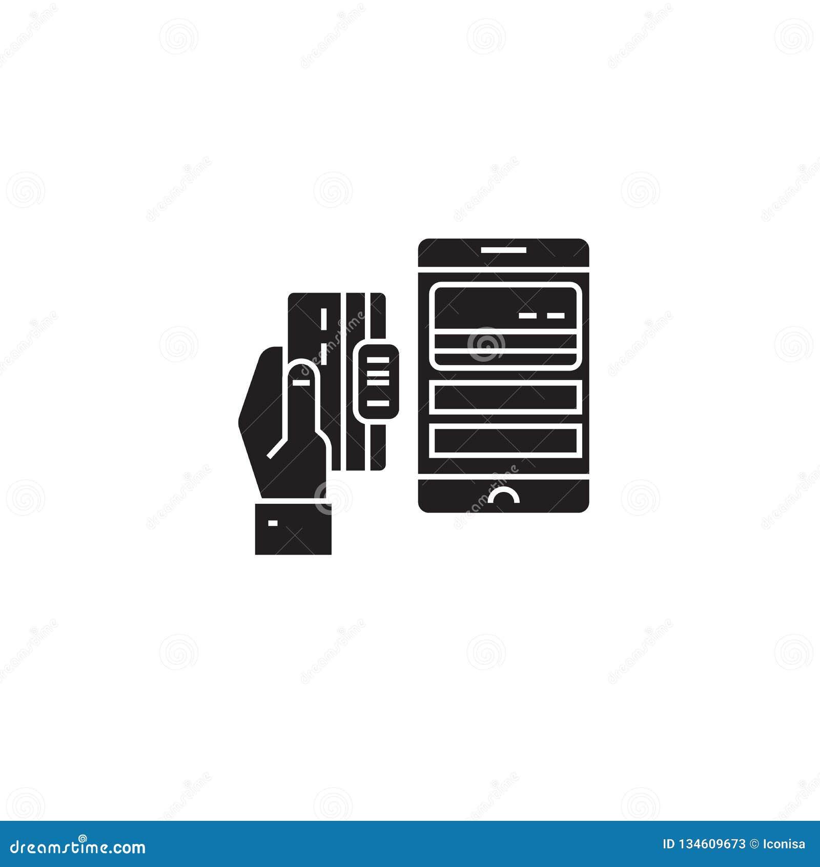 流动付款黑色传染媒介概念象 流动付款平的例证,标志