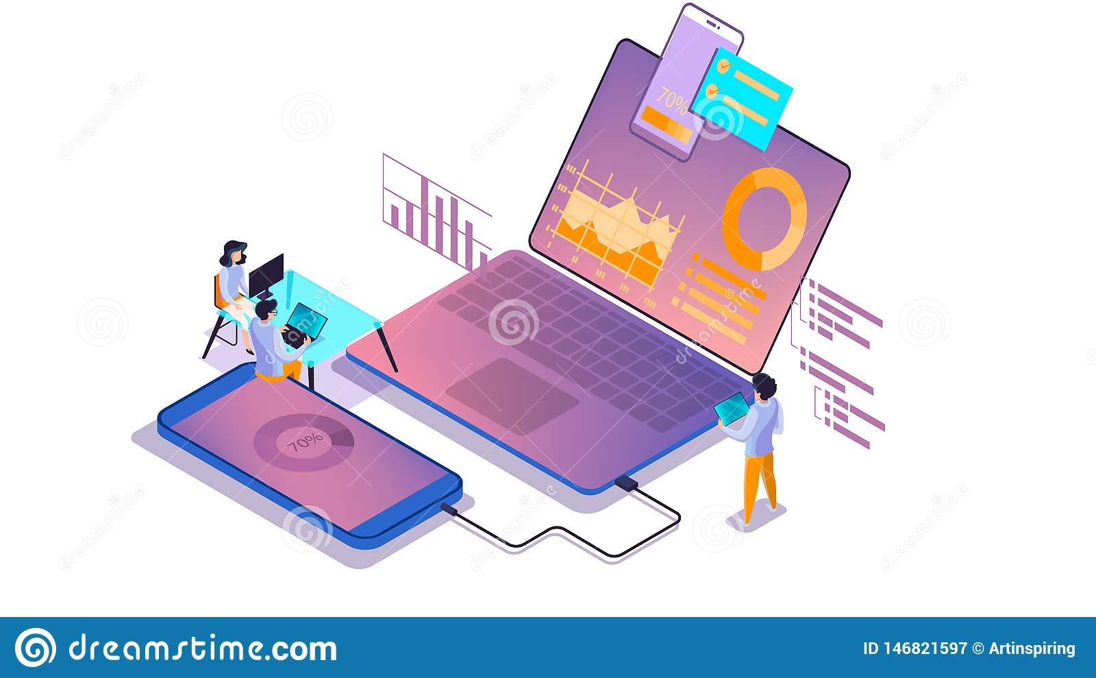 流动应用程序发展概念 现代技术illsutration