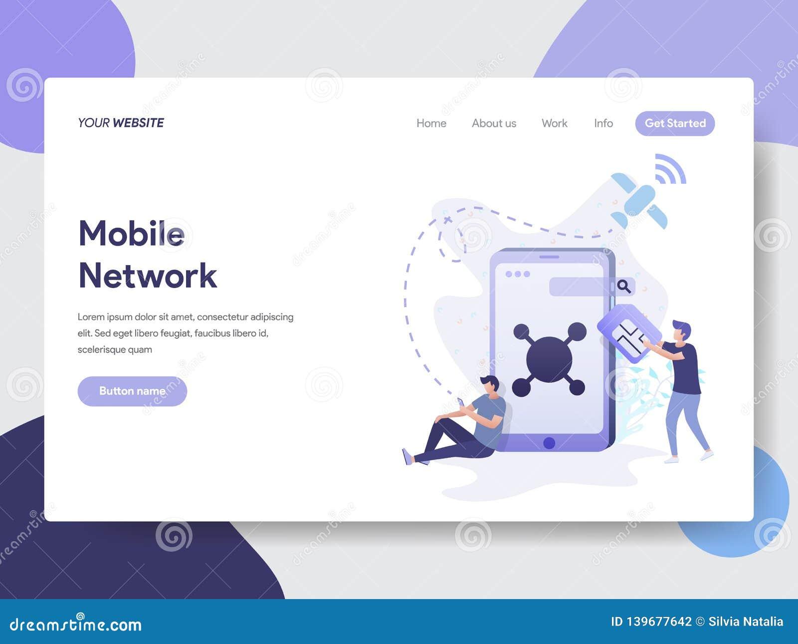 流动网络例证概念登陆的页模板  网页设计的现代平的设计观念网站和机动性的