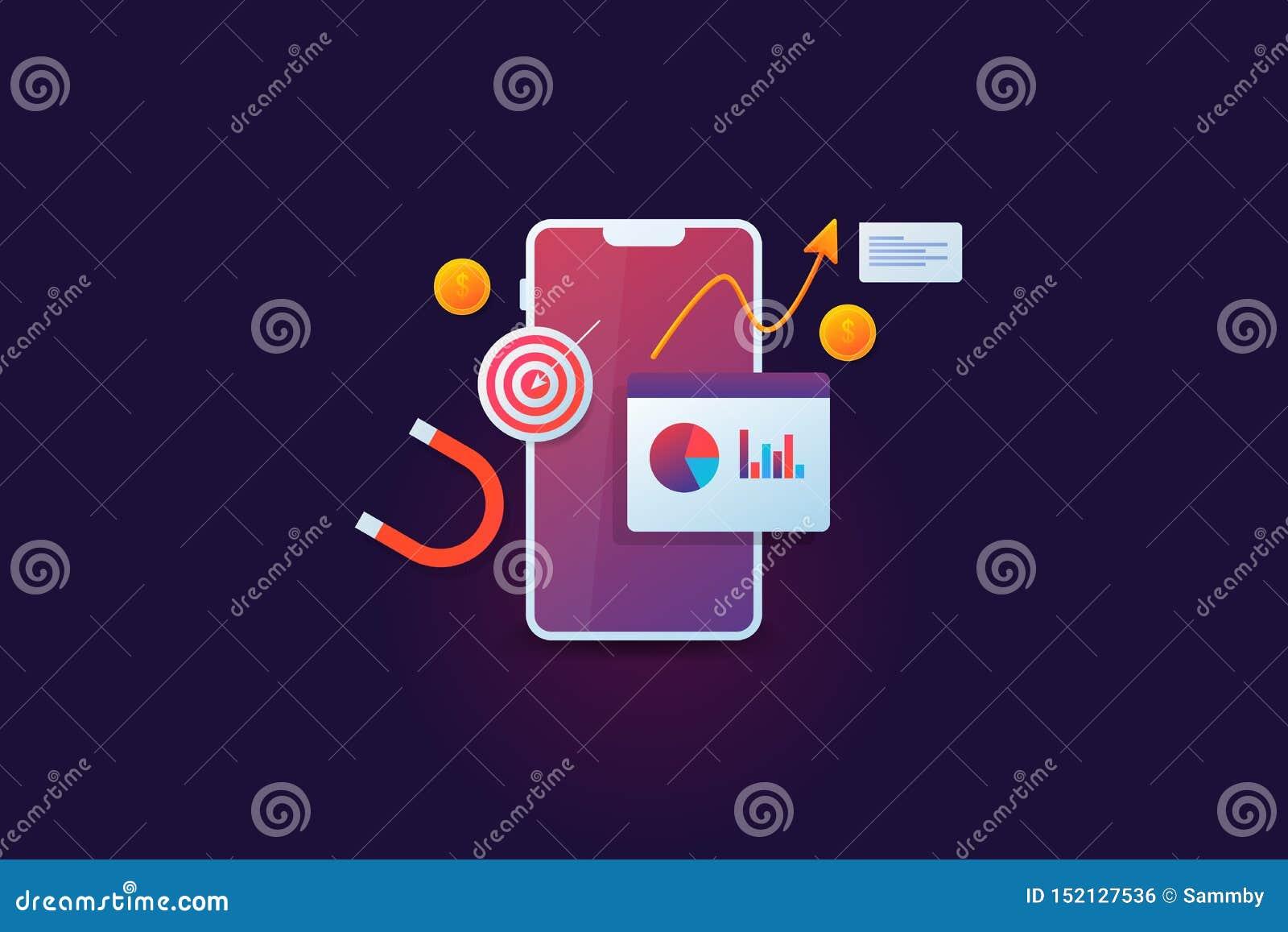 流动销售的逻辑分析方法,目标市场,显示在与收支成长的智能手机显示,金钱,大磁铁的企业数据,