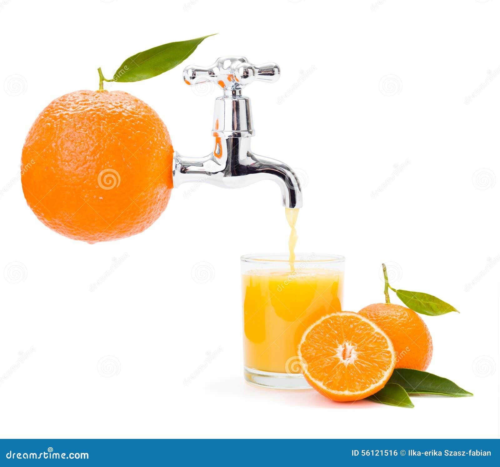 流动从大果子的橙汁