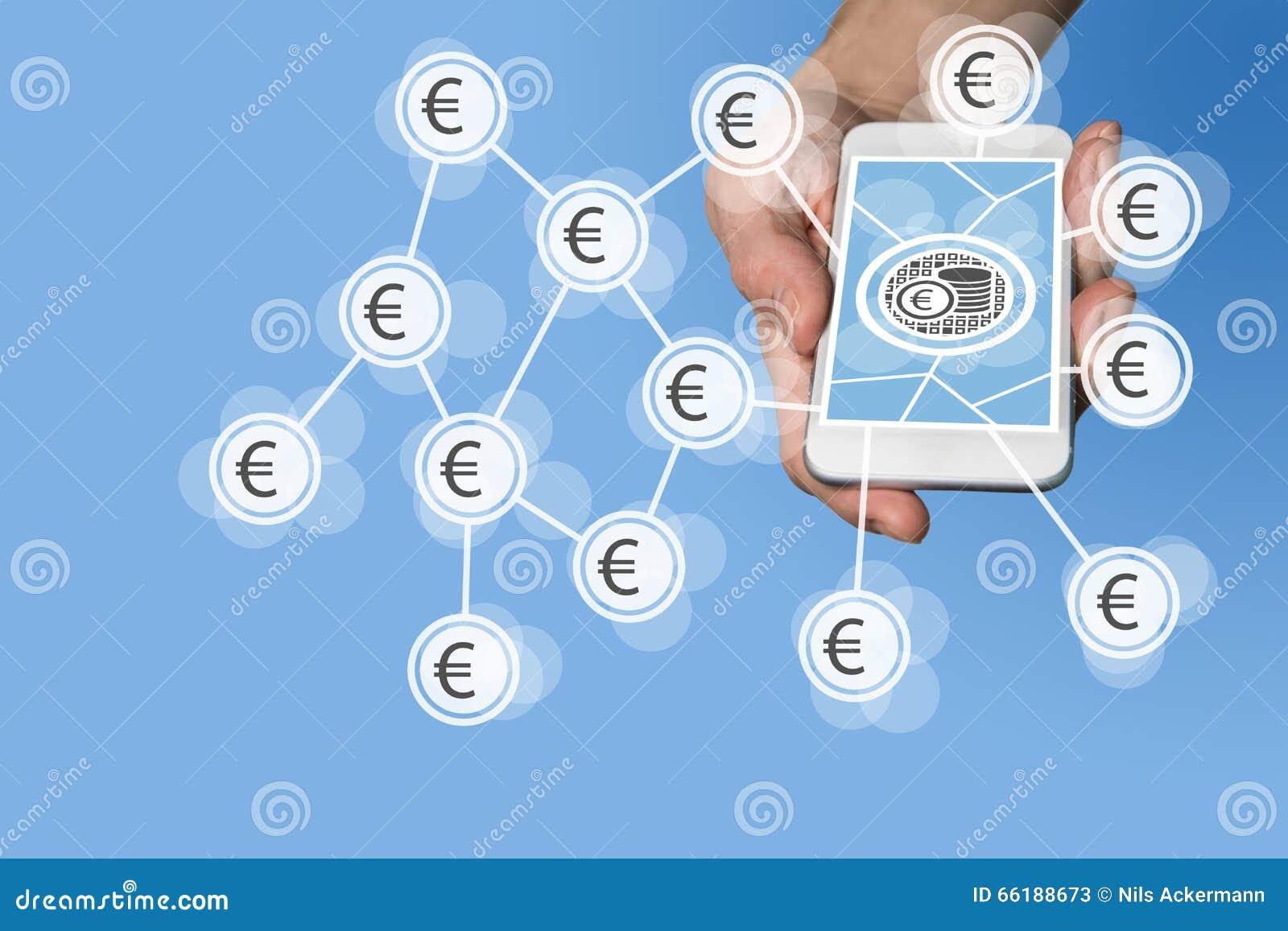 流动e付款和电子商务概念用拿着在中立灰色背景前面的手现代智能手机