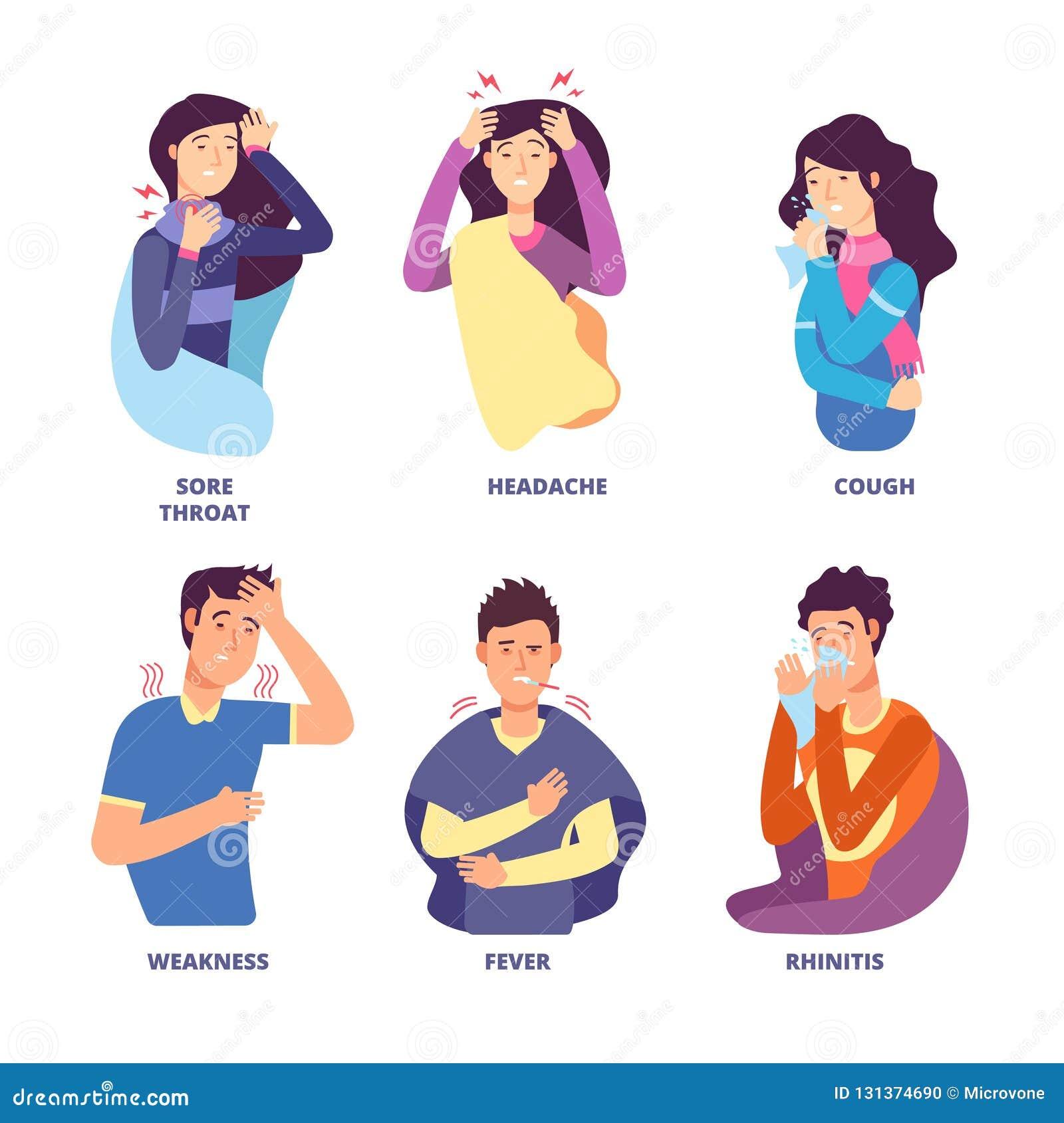 流感症状 展示冷的憔悴的人们 热病咳嗽,鼻涕冷颤,头晕 流感的传染媒介字符