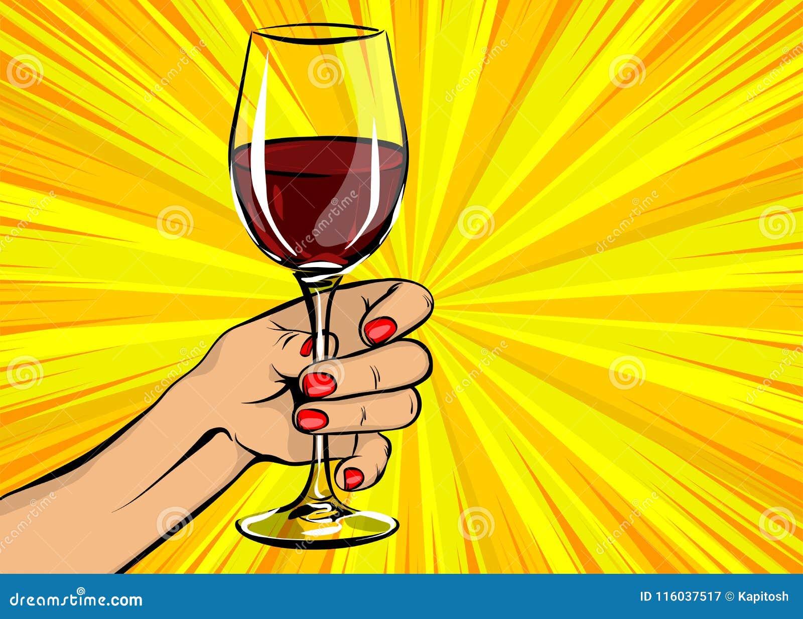 流行艺术妇女手举行红葡萄酒玻璃葡萄酒