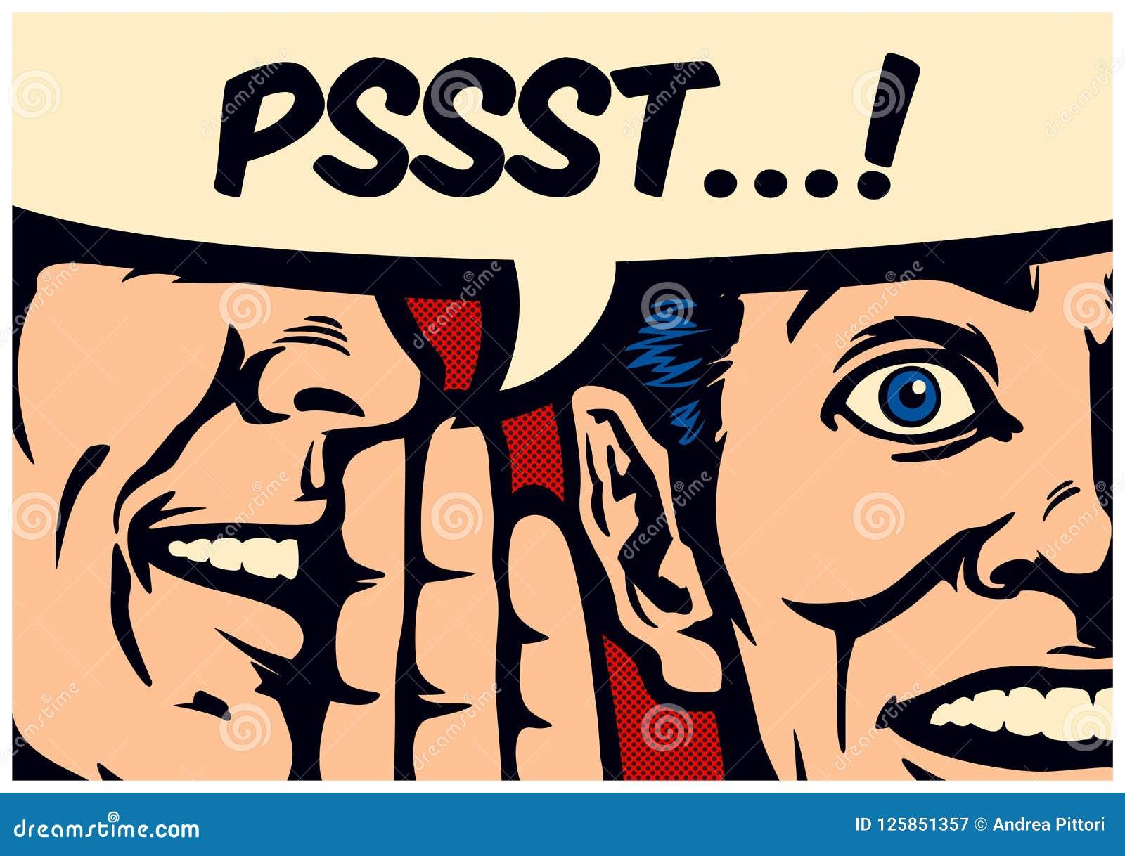 流行艺术漫画书goddip人耳语的秘密或新闻在惊奇的人的耳朵有讲话泡影传染媒介例证的