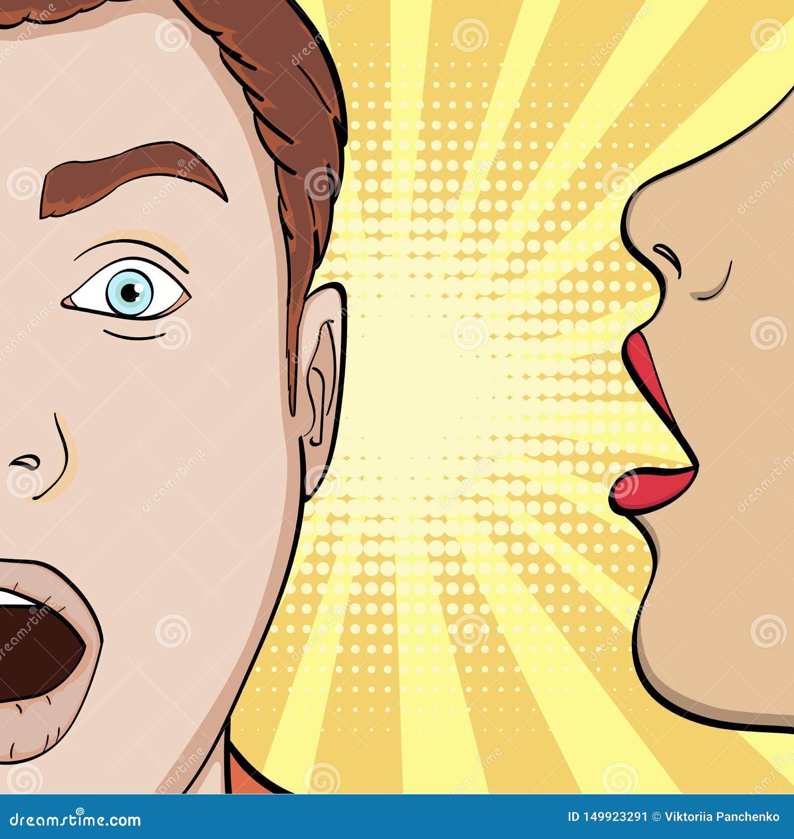 流行艺术背景,漫画的模仿 女孩在他的耳朵人耳语,诱惑一个人,秘密 ??
