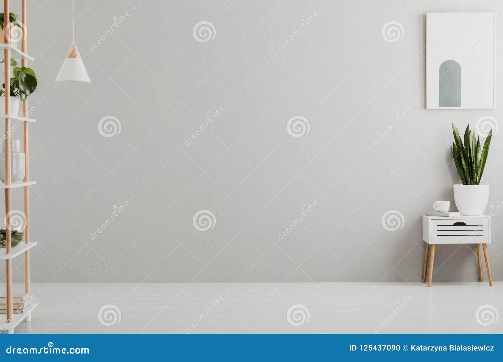 浅灰色的客厅内部真正的照片与新鲜的植物、书和茶杯的在碗柜和简单的海报在墙壁上,地方