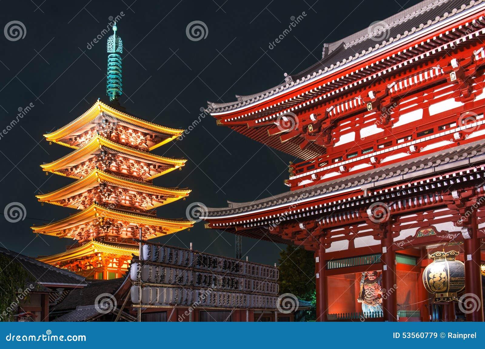 浅草Sensoji寺庙的-东京,日本五层塔