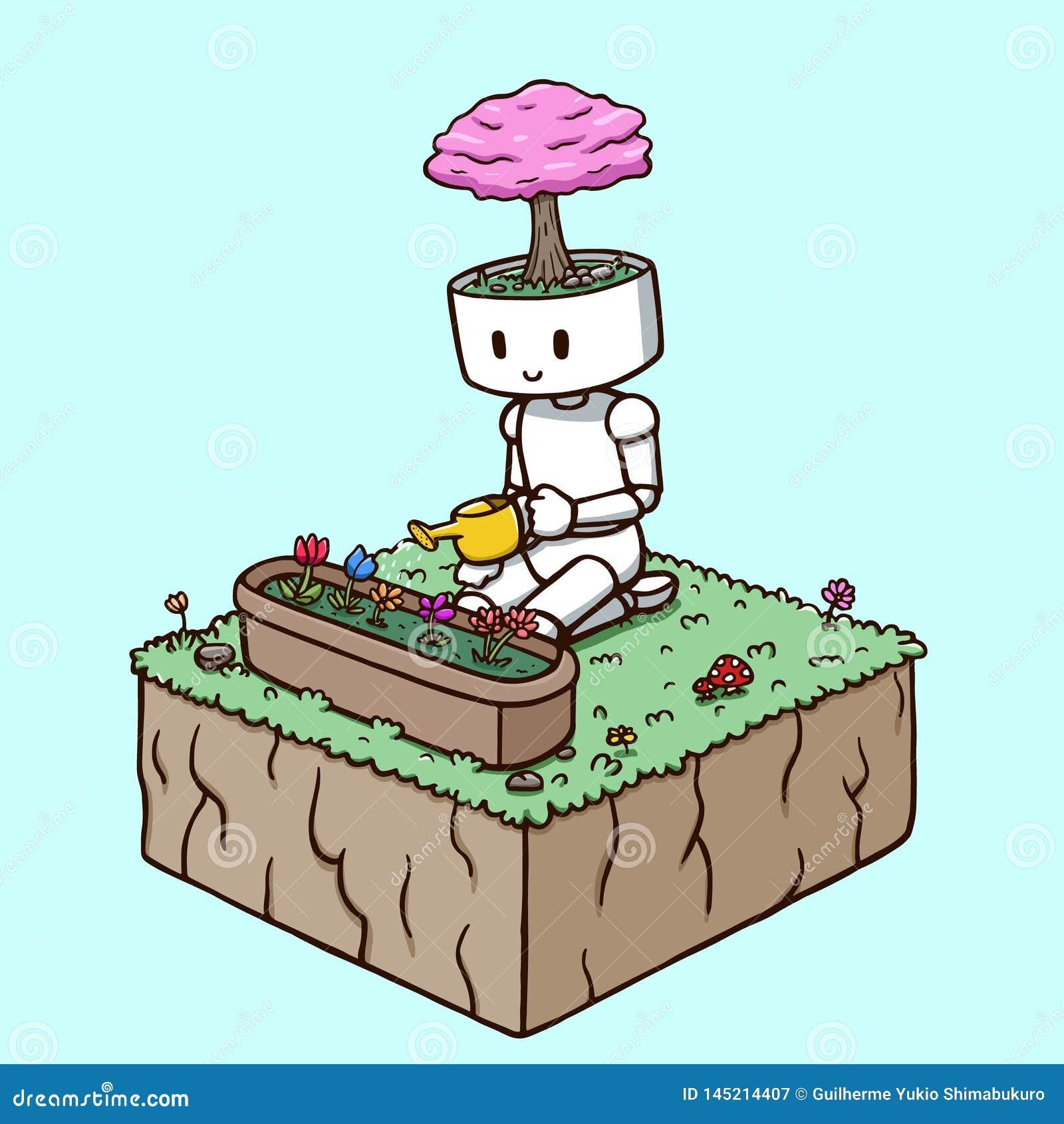 浇灌庭院花的机器人