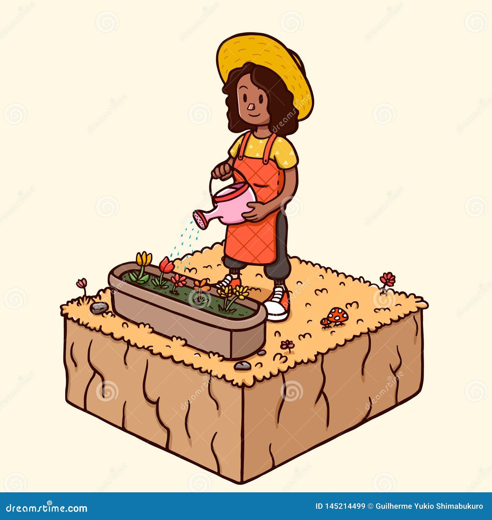 浇灌庭院花-秋天季节的黑人妇女