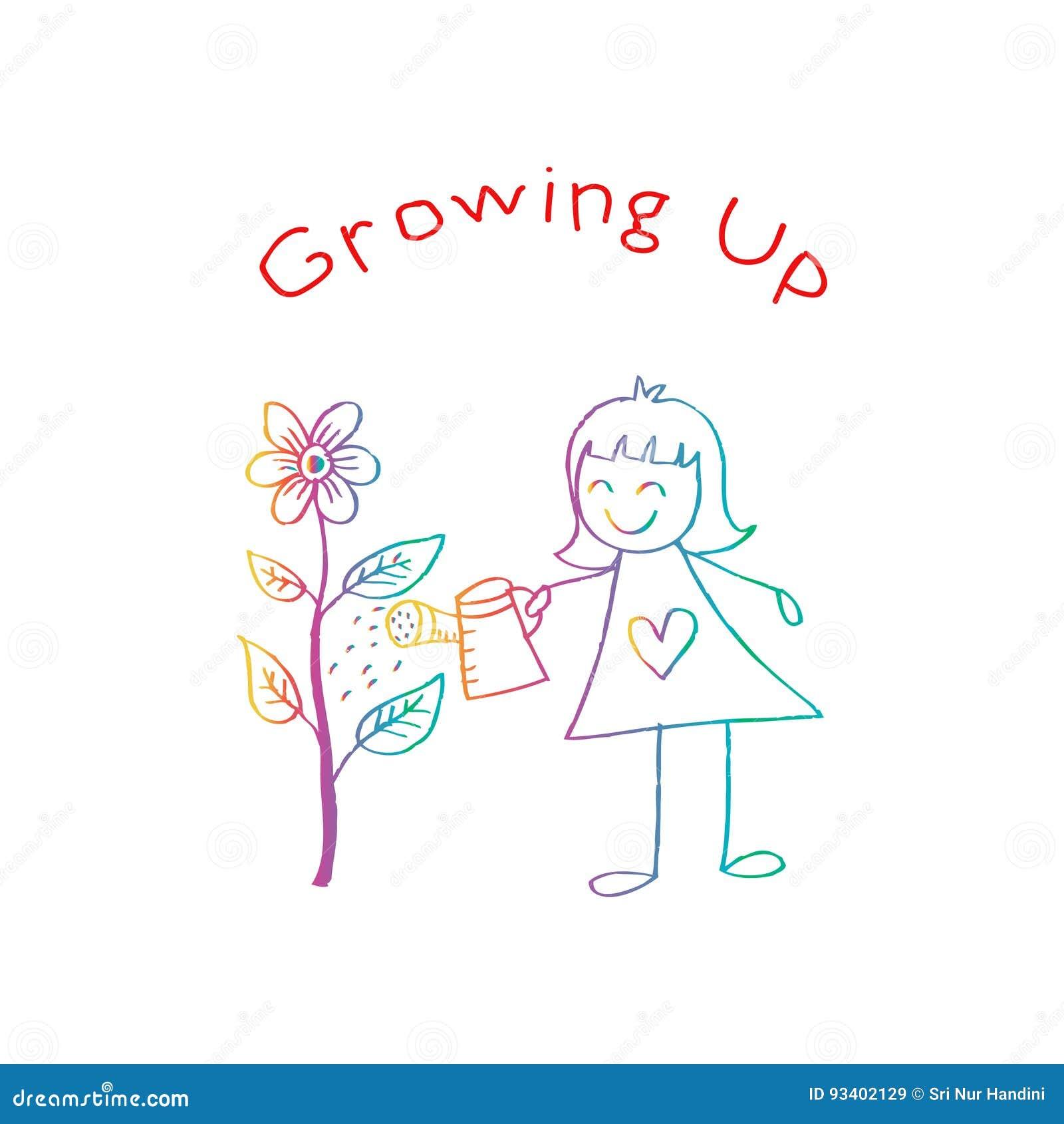 浇灌花的逗人喜爱的孩子