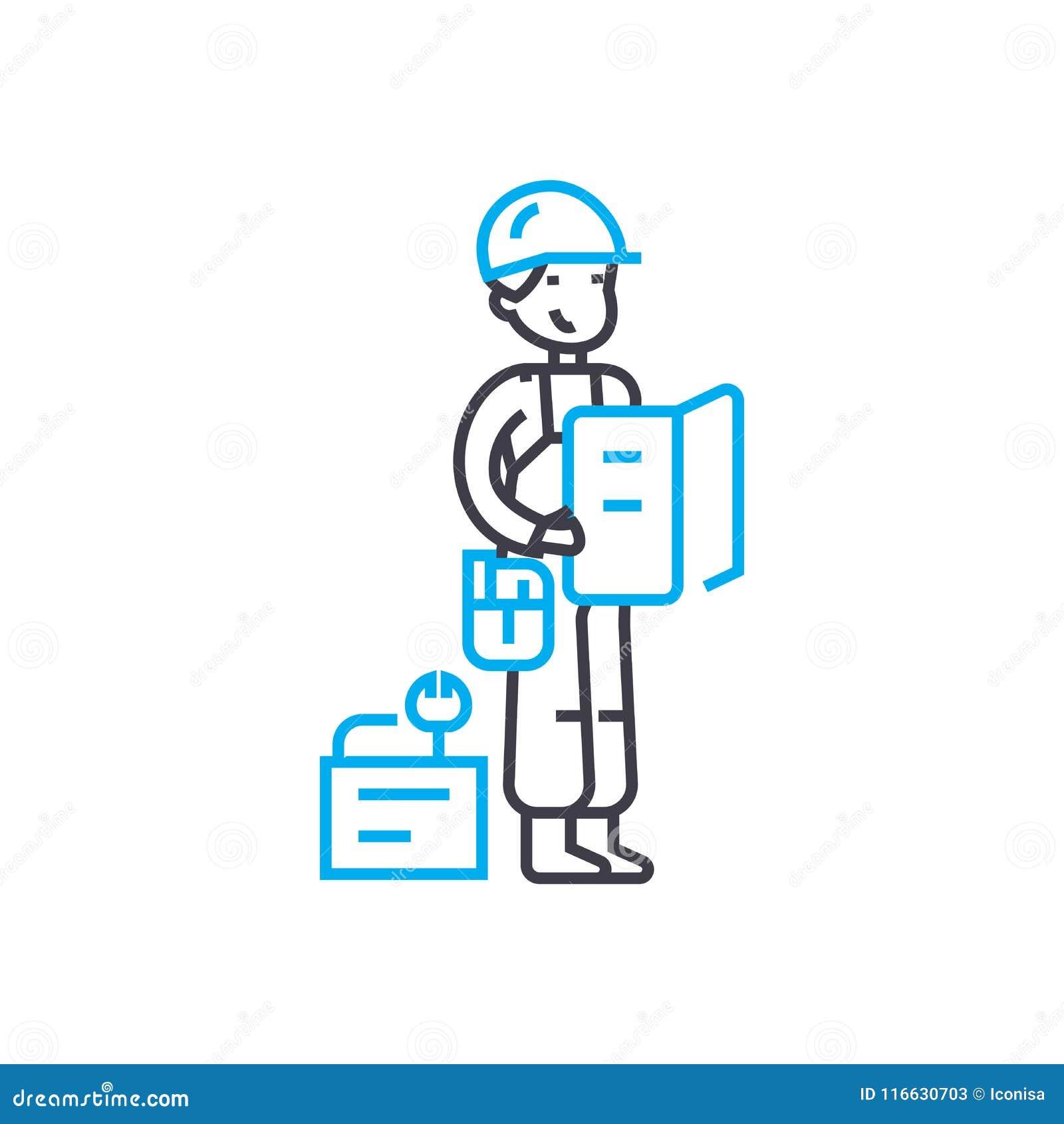 测量的工作供以人员传染媒介稀薄的线冲程象 测量的工作供以人员概述例证,线性标志,标志概念