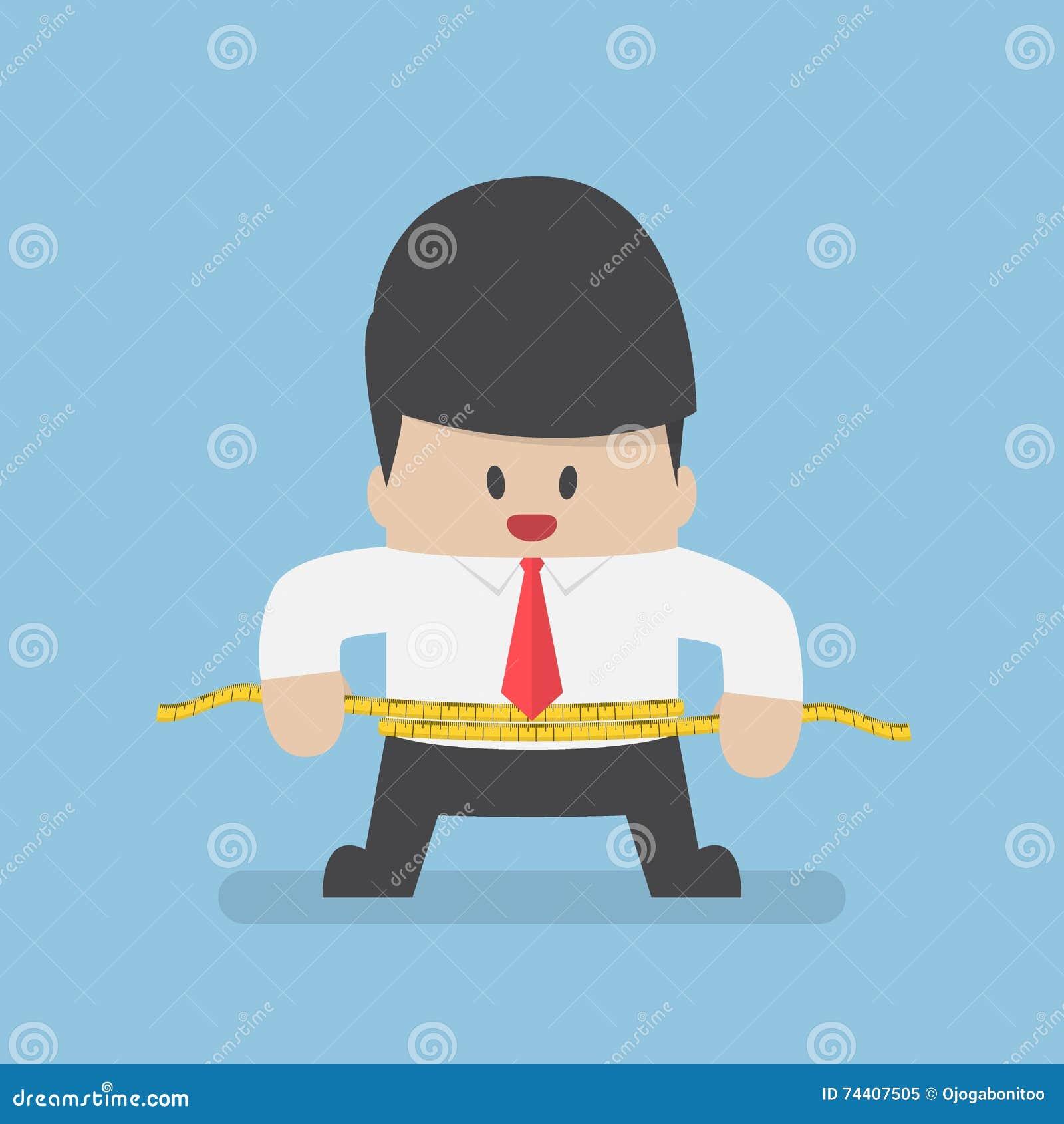 测量他的有措施磁带的商人腰部